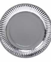 8x zilveren feest borden van karton 23 cm