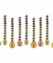 9x feestartikelen 1 jaar spiralen versieringen