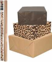 9x rollen kraft inpakpapier kaftpapier pakket bruin zwart panterprint 200 x 70 cm