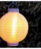9x stuks solar buitenlampion buitenlampionnen wit met realistisch vlameffect 20 cm