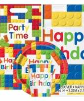 Bouwstenen blokkens print feestje versiering pakket 9 16 personen
