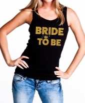 Bride to be fun tanktop glitter tekst zwart voor dames