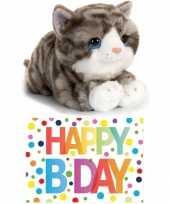 Cadeau setje pluche grijze kat poes knuffel 32 cm met happy birthday wenskaart