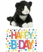 Cadeau setje pluche zwart witte kat poes knuffel 18 cm met happy birthday wenskaart