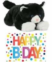 Cadeau setje pluche zwart witte kat poes knuffel 25 cm met happy birthday wenskaart