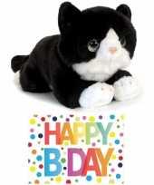 Cadeau setje pluche zwart witte kat poes knuffel 32 cm met happy birthday wenskaart