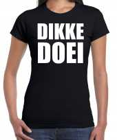 Dikke doei t-shirt kleding zwart voor dames