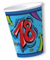 Feest bekers 18 jaar blauw 10 stuks