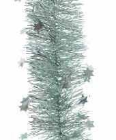 Feest lametta guirlande mintgroen sterren glinsterend 10 x 270 cm feestversiering decoratie