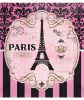 Franse thema borden eiffeltoren print 8 stuks