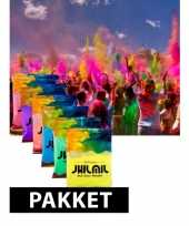 Gekleurde holi kleurenpoeder pakket 7 st