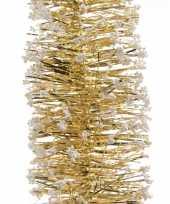 Gouden feestversiering folie slinger met sneeuw 200 cm