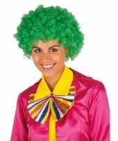 Groene krullen clownspruik verkleed accessoire