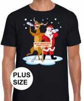 Grote maten foute kerstmis shirt zwart met een dronken kerstman en rudolf voor heren