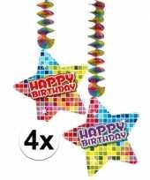 Hangdecoraties happy birthday jaar 4 stuks