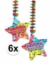 Hangdecoraties happy birthday jaar 6 stuks