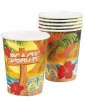Hawaii thema bekertjes 18x stuks van karton