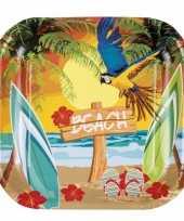 Hawaii thema borden 6 stuks