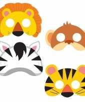 Junglethema kindermaskers setje 16 stuks