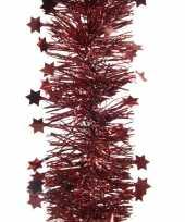 Kerst lametta guirlande donkerrood sterren glinsterend 10 x 270 cm kerstboom versiering decoratie