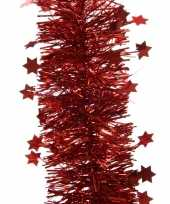 Kerst lametta guirlande kerst rood sterren glinsterend 10 x 270 cm kerstboom versiering decoratie