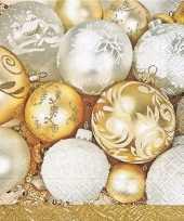 Kerstbal servetten goud 20 stuks