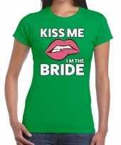 Kiss me i am the bride groen fun t-shirt voor dames