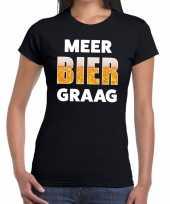 Meer bier graag fun t-shirt zwart voor dames