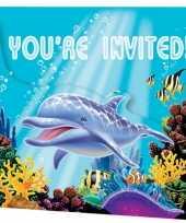 Oceaan uitnodigingen 8 stuks