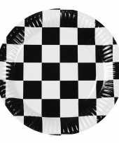 Party bordjes zwart wit geblokt 6 stuks