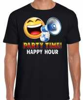 Party time happy hour funny emoticon shirt heren zwart