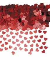 Rode glimmende hartjes confetti 3 zakjes