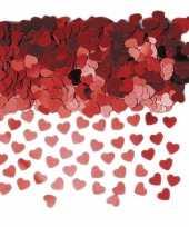 Rode glimmende hartjes confetti 6 zakjes