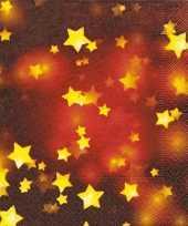 Rode kerst servetten met gouden sterren