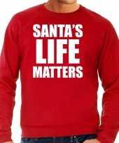 Rode kersttrui kerstkleding santas life matters voor heren