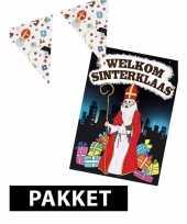 Sinterklaas versiering vlaggenlijn 10 m snoepgoed print met deurposter