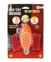 Speelgoed handgranaat met klappertjes met 96 schoten oranje 14 cm