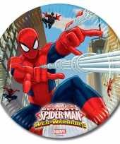 Spiderman kinderfeest bordjes 8 stuks