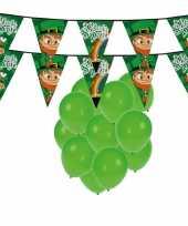 St patricks day feestartikelen versiering met ballonnen en 2x slinger