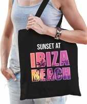Sunset at ibiza beach tasje zwart voor dames