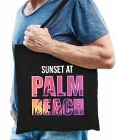 Sunset at palm beach tasje zwart voor heren