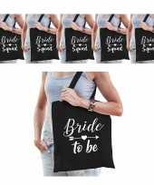 Tasjes vrijgezellenfeest vrouw 1x bride to be zwart 9x bride squad zwart