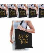 Tasjes vrijgezellenfeest vrouw 1x bride to be zwart goud 9x bride squad zwart goud