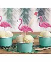 Tropische versiering flamingo prikkers 6x