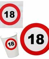 Verjaardag feestartikelen tafel dekken set 18 jaar verkeersbord 10266966