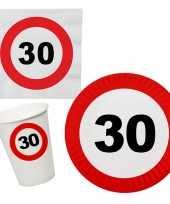 Verjaardag feestartikelen tafel dekken set 30 jaar verkeersbord 10266974