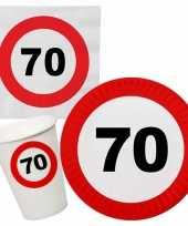Verjaardag feestartikelen tafel dekken set 70 jaar verkeersbord 10267022
