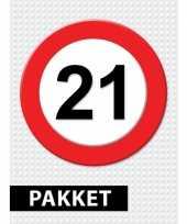 Verkeersbord 21 jaar versiering pakket