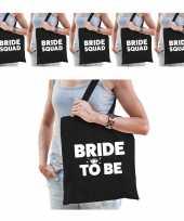 Vrijgezellenfeest vrouw katoenen tasjes pakket 1x bride to be zwart 9x bride squad zwart