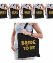 Vrijgezellenfeest vrouw katoenen tasjes pakket 1x bride to be zwart goud 9x bride squad zwart goud